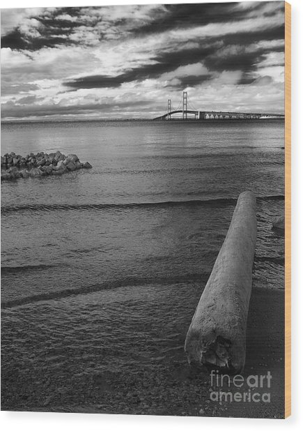Mackinac Bridge - Infrared 01 Wood Print