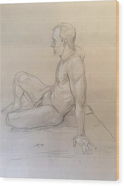 Male Nude Wood Print by Alejandro Lopez-Tasso