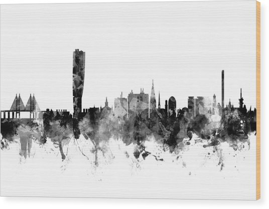 Malmo Sweden Skyline Wood Print
