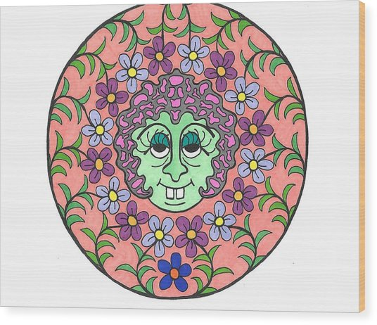 Goofy Green Witch Wood Print