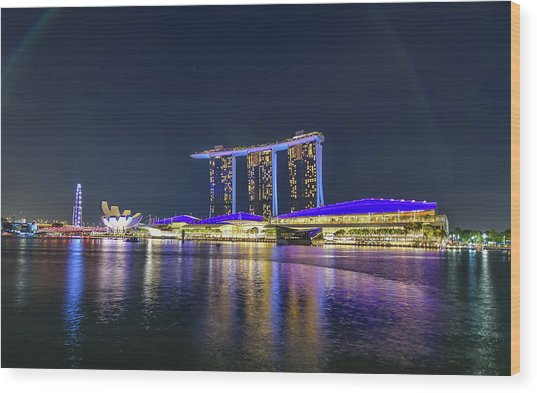 Marina Bay Sands And The Artscience Museum In Singapore Wood Print