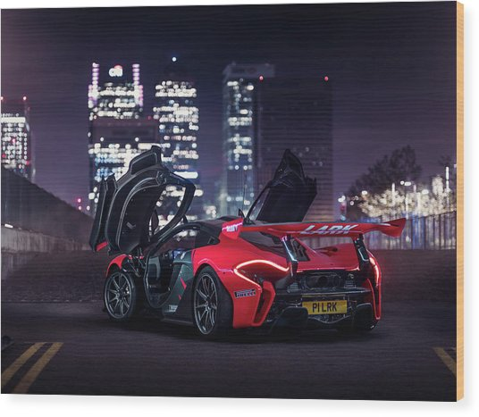 Mclaren P1 Gtr In London Wood Print