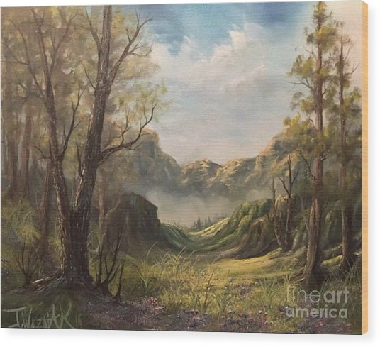 Misty Valley Wood Print by Paintings by Justin Wozniak