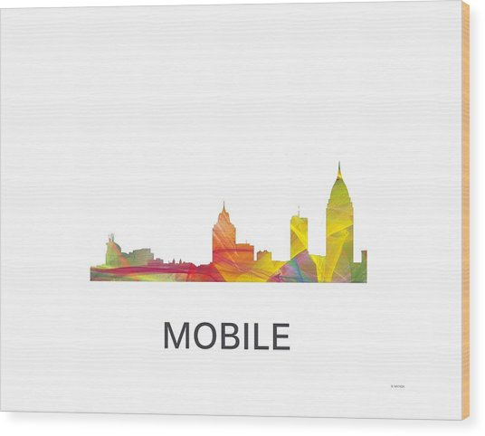 Mobile Alabama Skyline Wood Print