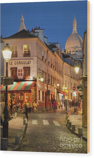 Montmartre Twilight Wood Print