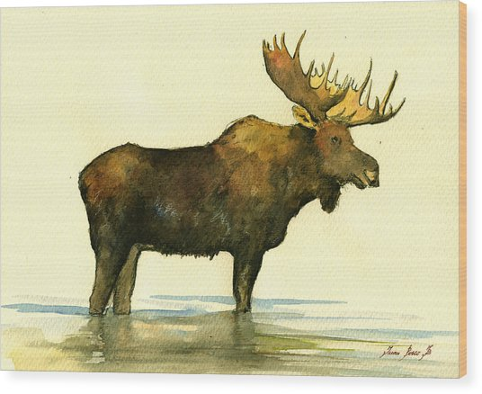 Moose Watercolor Painting. Wood Print