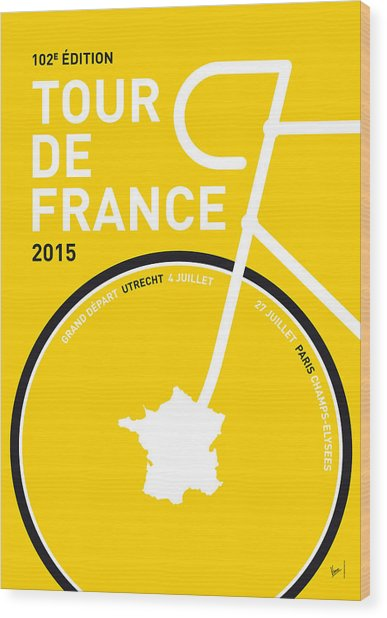 My Tour De France Minimal Poster Wood Print