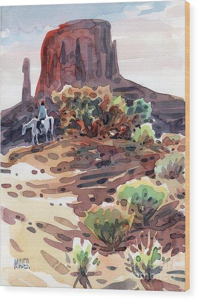 Navajo Rider Wood Print by Donald Maier