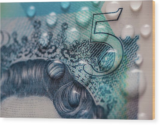 New Uk Five Pound Note Wood Print