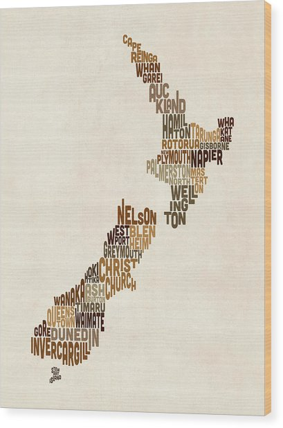 New Zealand Typography Text Map Wood Print