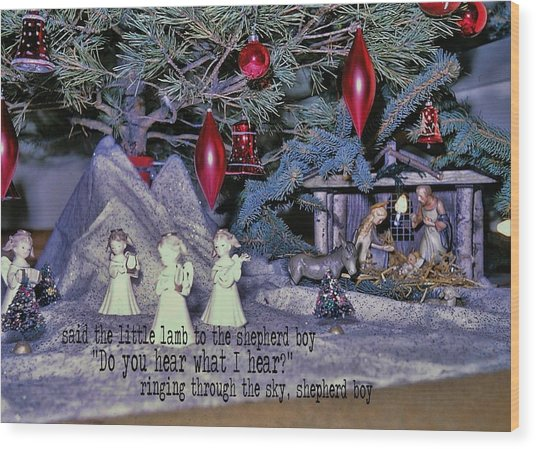 O Holy Night Quote Wood Print by JAMART Photography