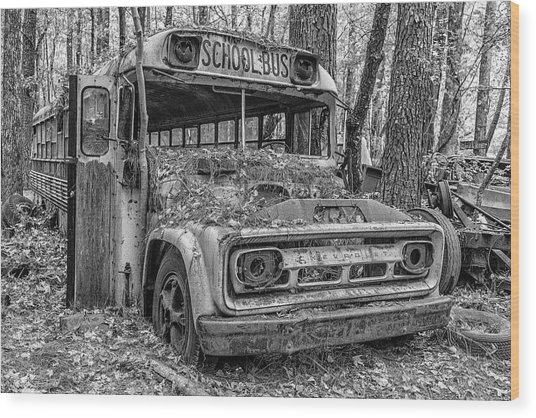 Old School Bus Wood Print