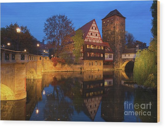 Nuremberg At Night Wood Print