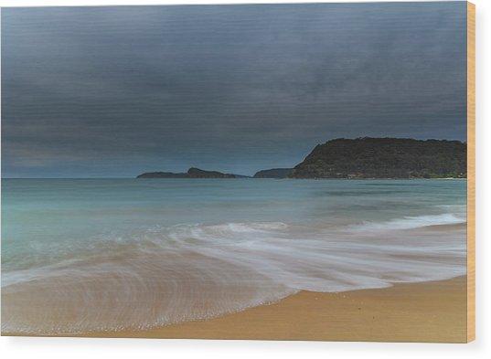 Overcast Cloudy Sunrise Seascape Wood Print