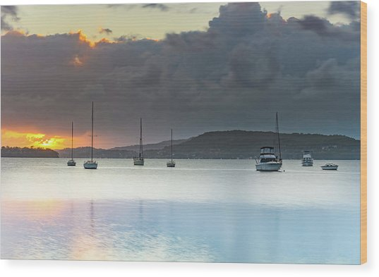 Overcast Sunrise Waterscape Wood Print