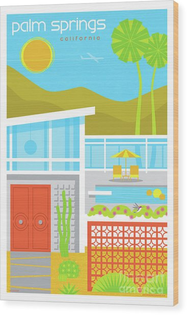 Palm Springs Poster - Retro Travel  Wood Print