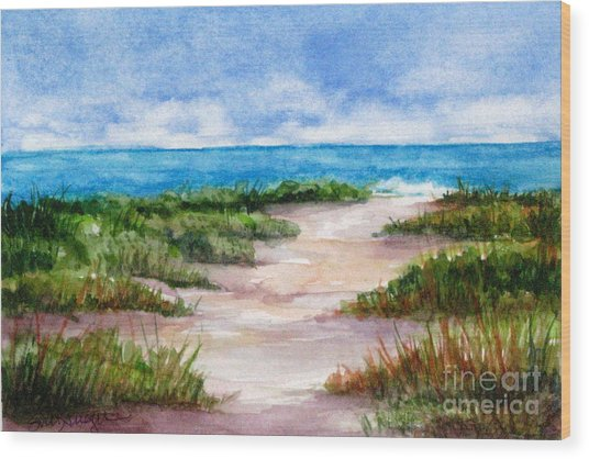 Path To The Beach Wood Print by Suzanne Krueger