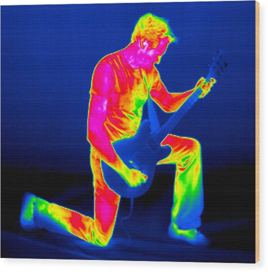 Playing Guitar, Thermogram Wood Print by Tony Mcconnell