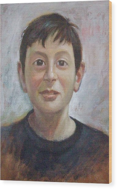 Portrait Of A Boy Wood Print by George Siaba