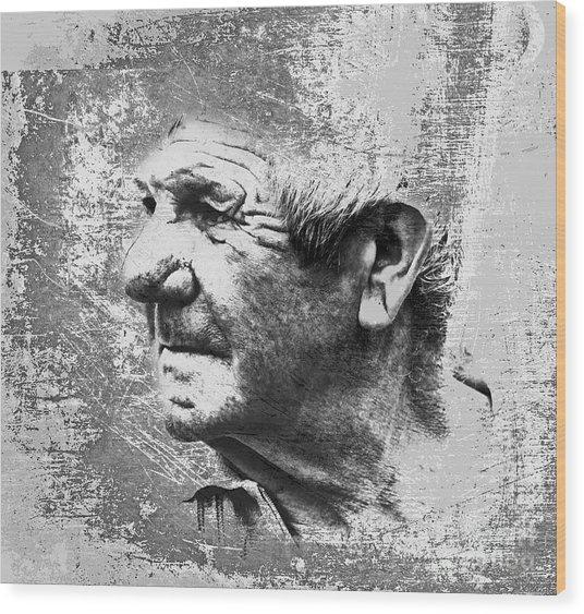 Portrait Of A Brittany Farmer Wood Print by Mark Hendrickson
