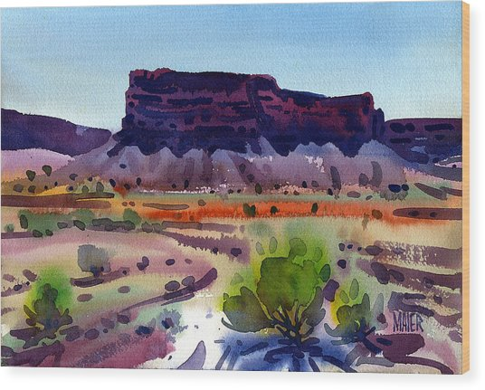 Purple Butte Wood Print by Donald Maier