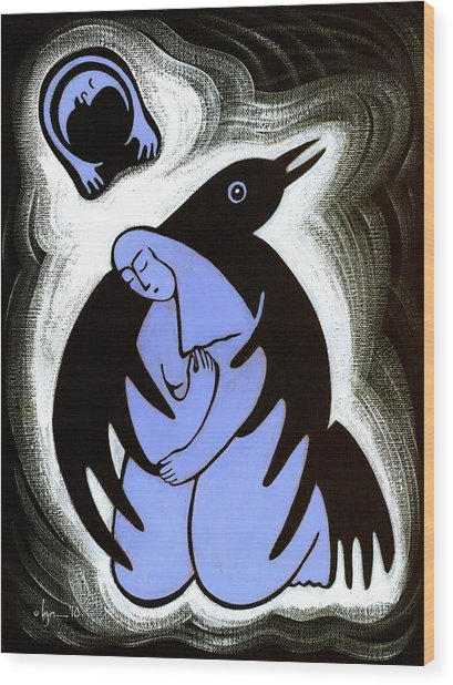 Raven Holds Me When I Weep Wood Print