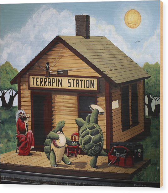 Recreation Of Terrapin Station Album Cover By The Grateful Dead Wood Print