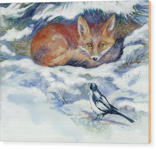 Red Fox With Magpie Wood Print by Peggy Wilson