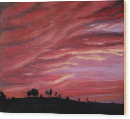Red Skies Wood Print by Michelle Fayant