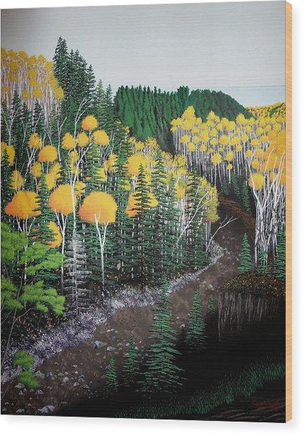River Through Golden Forest Wood Print by Dan Shefchik