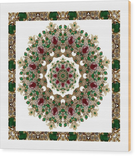 Ruby And Emerald Kaleidoscope Wood Print