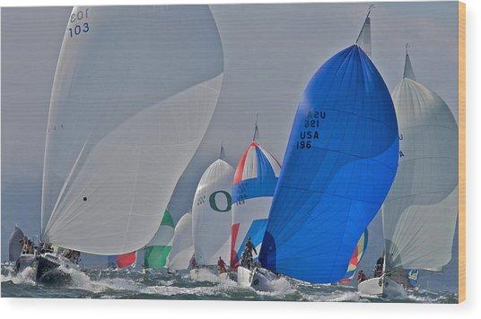 San Francisco Bay Sailboat Racing Wood Print