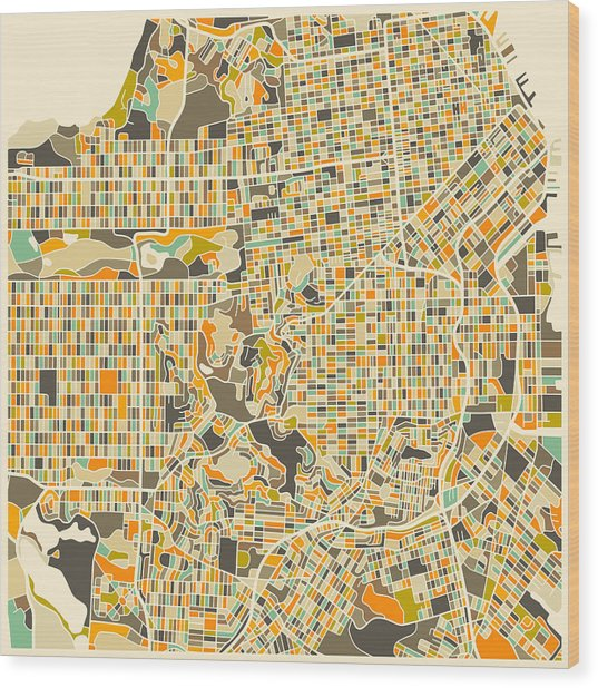San Francisco Map Wood Print