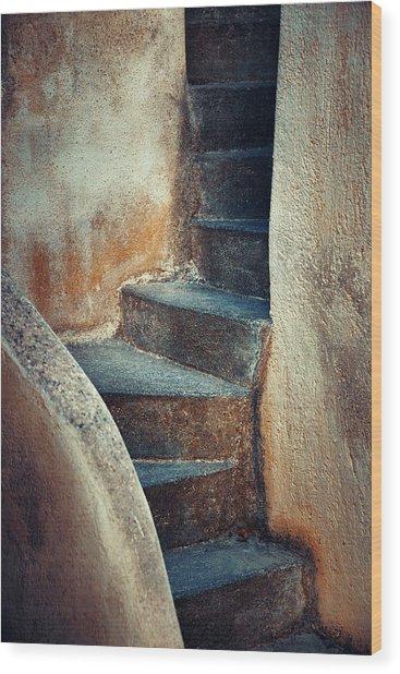 Santorini Island Stairs Wood Print by Songquan Deng
