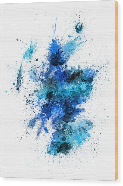 Scotland Paint Splashes Map Wood Print