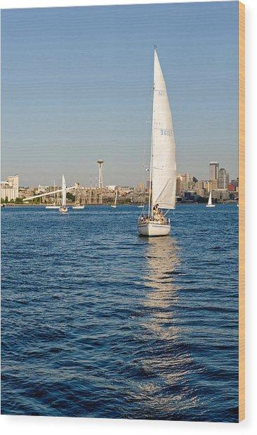 Seattle Sailing Wood Print by Tom Dowd