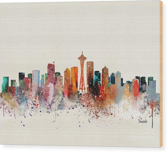 Seattle Skyline Wood Print by Bri Buckley