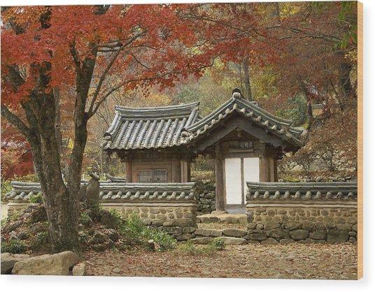 Seonamsa In Autumn Wood Print
