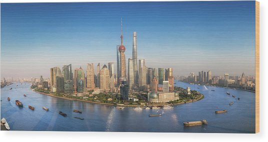 Shanghai Skyline With Modern Urban Skyscrapers Wood Print by Anek Suwannaphoom