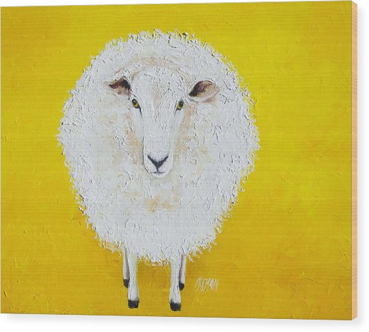 Sheep Painting On Yellow Background Wood Print
