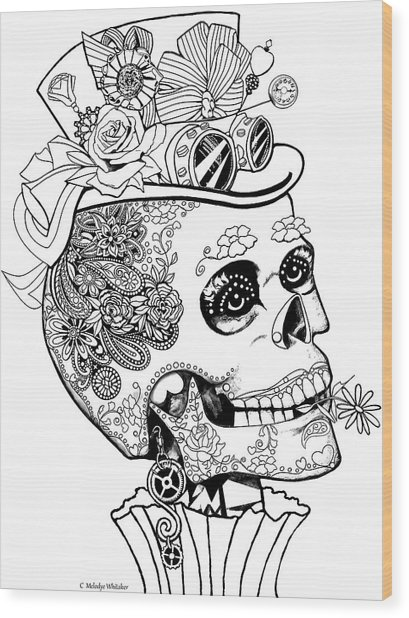 Steampunk Sugar Skull Wood Print