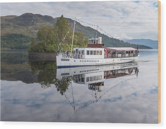Steamship Sir Walter Scott On Loch Katrine Wood Print