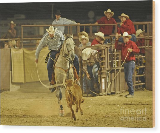 Steer Wrestling Wood Print by Dennis Hammer