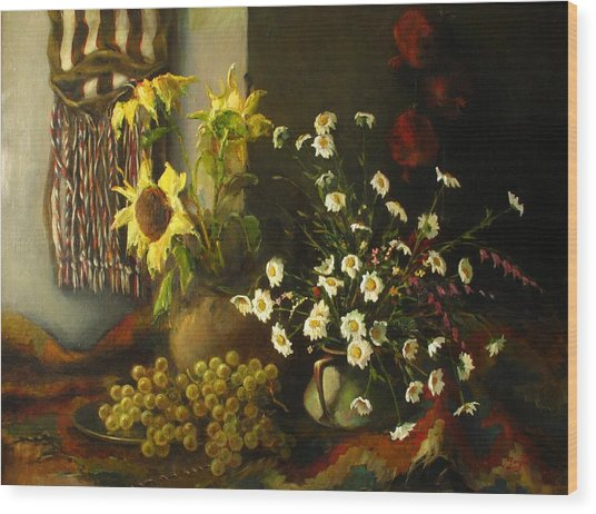Still-life With Sunflowers Wood Print