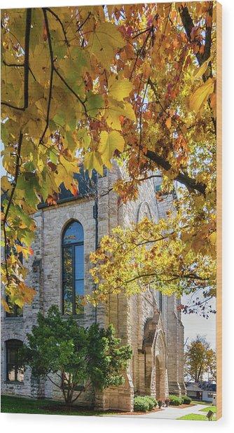 Stone Chapel Fall Wood Print