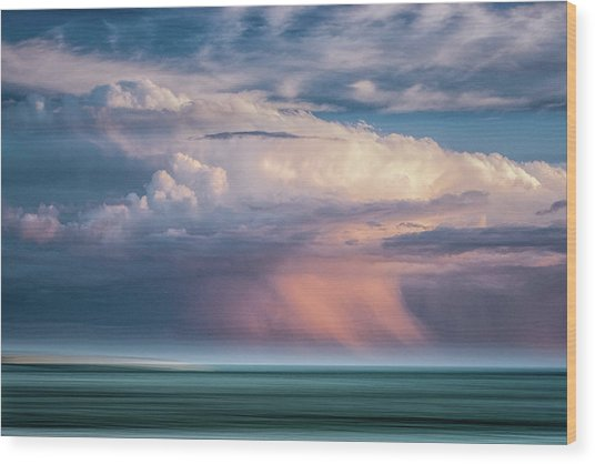 Storm On The Sound Wood Print