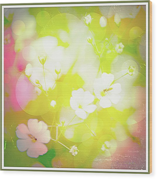 Summer Flowers, Baby's Breath, Digital Art Wood Print