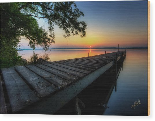 Sunrise Over Cayuga Lake Wood Print