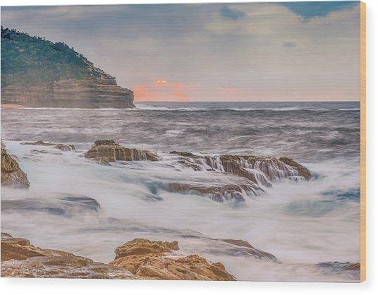 Sunrise Seascape And Headland Wood Print