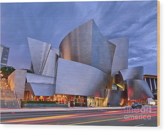 Sunset At The Walt Disney Concert Hall In Downtown Los Angeles. Wood Print